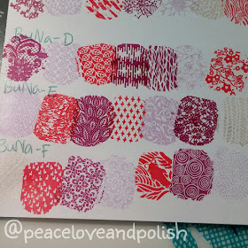 Stamping swatches BuNa D, E, F