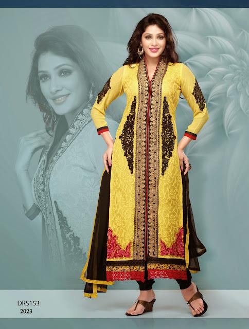 New Designer Embroidered Long Salwar Kameez