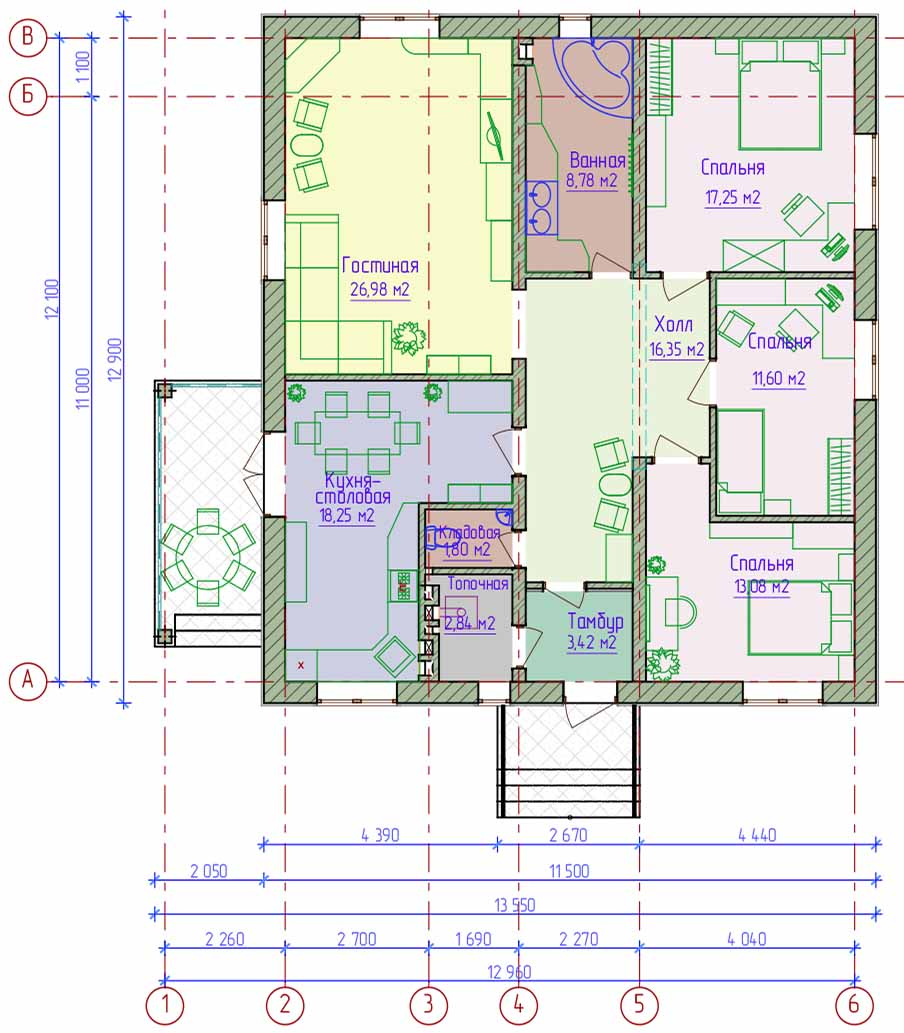 Проекты 5 комнатных одноэтажных домов