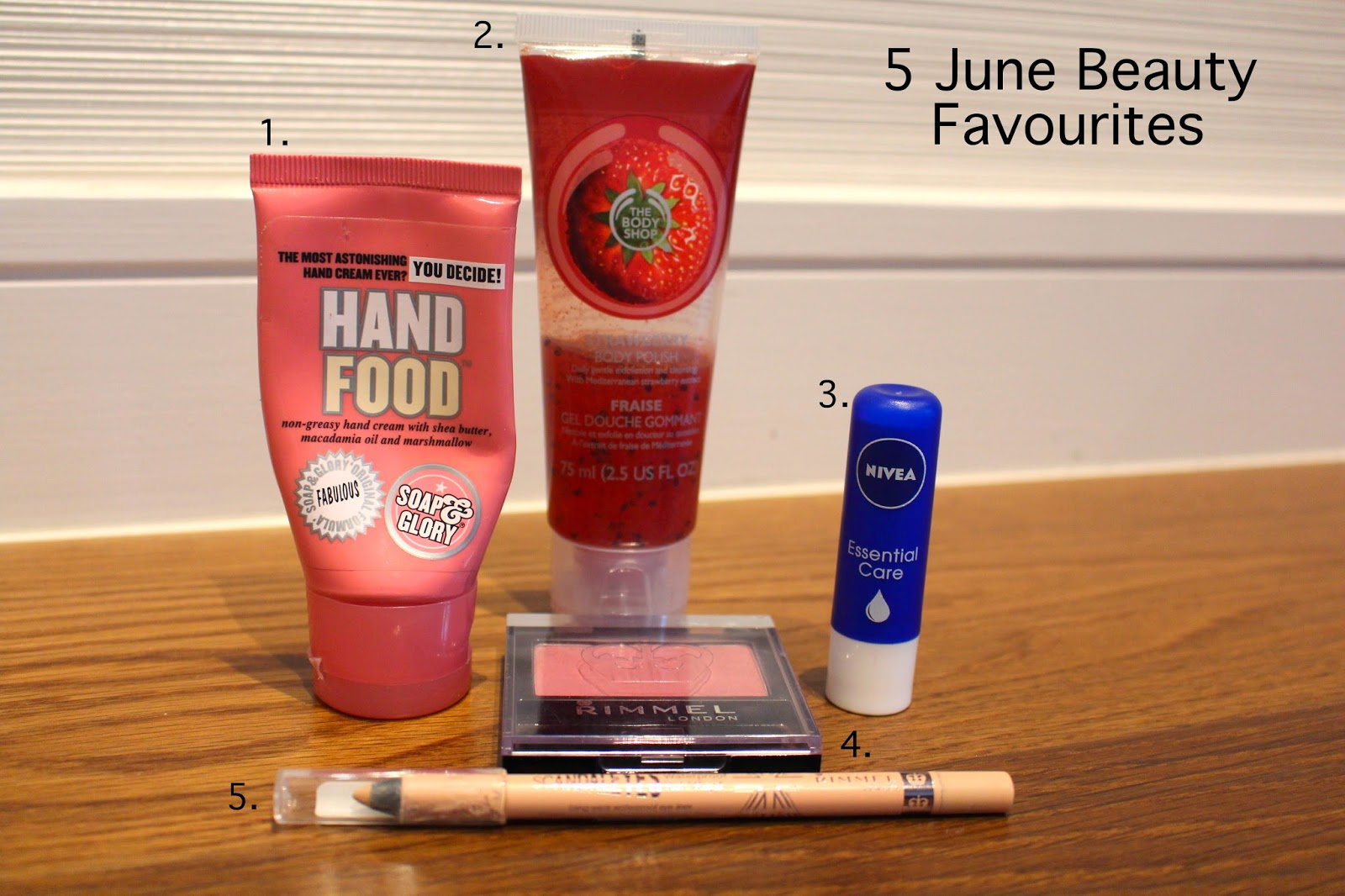 My 5 favourite beauty products for june 2014, beauty favourites, makeup favourites, monthly favourites, rimmel scandaleyes nude, soap and glory hand food, the body shop, nivea, rimmel, rimmel genuine plum blush