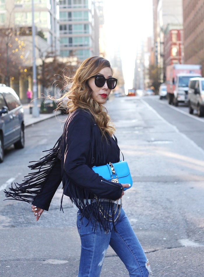 Topshop Fliss Asymmetrical Faux Suede Biker Jacket, AG distressed jeans, schutz heels, karen walker super duper sunglasses, valentino lock bag, fashion blog, statement pieces, fringe jacket, new york street style