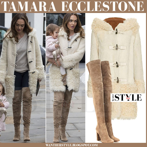 Tamara Ecclestone in cream shearling coat and camel suede thigh