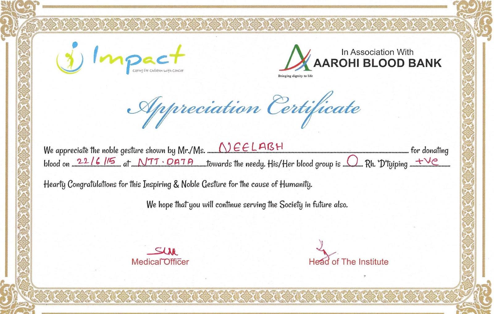 Blood donation certificate insrenterprises blood donation certificate yelopaper Gallery