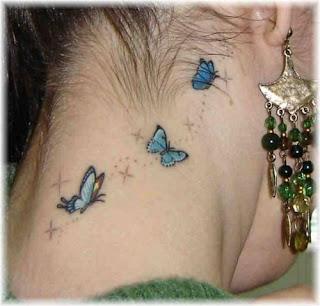 Tatuagens no Pescoço borboletas