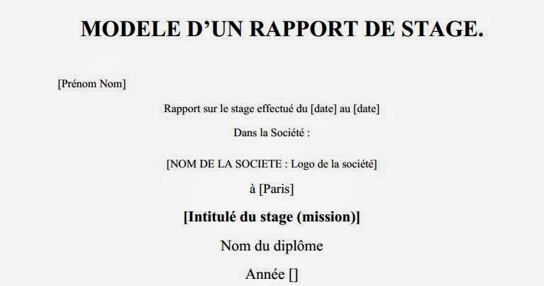 rapport  modele d u2019un rapport de stage