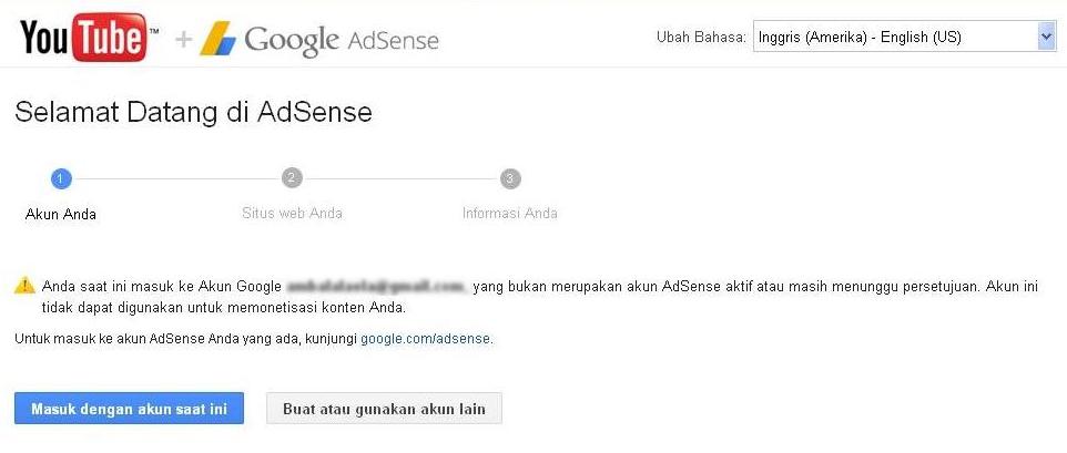 Jika tidak bisa dikaitkan ke youtube, alias seperti ini maka akun anda akun siluman