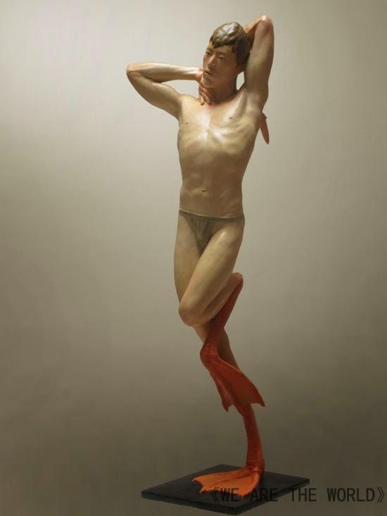 Liu Xue - We are the World - esculturas grotescas bizarras animais humanos surreais híbridos misturados