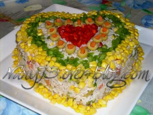 Salade de riz en forme de coeur mon coin des saveurs for Decoration de plat avec des legumes