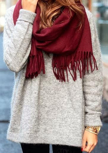 Amazing Long Sweater and Burgundy Scarf