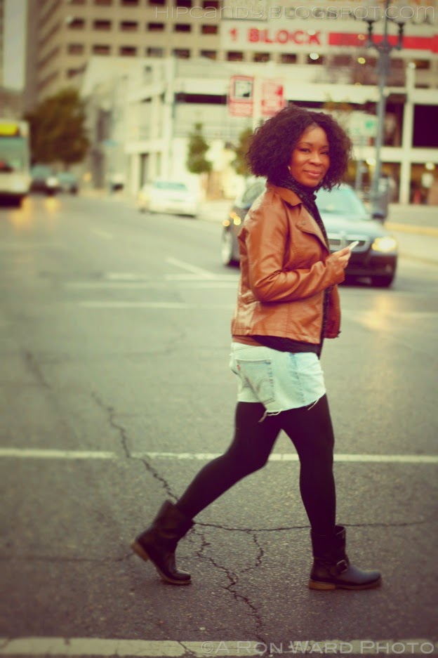 What I Wore Cut Off Denim Tights Protective Style Natural Hair