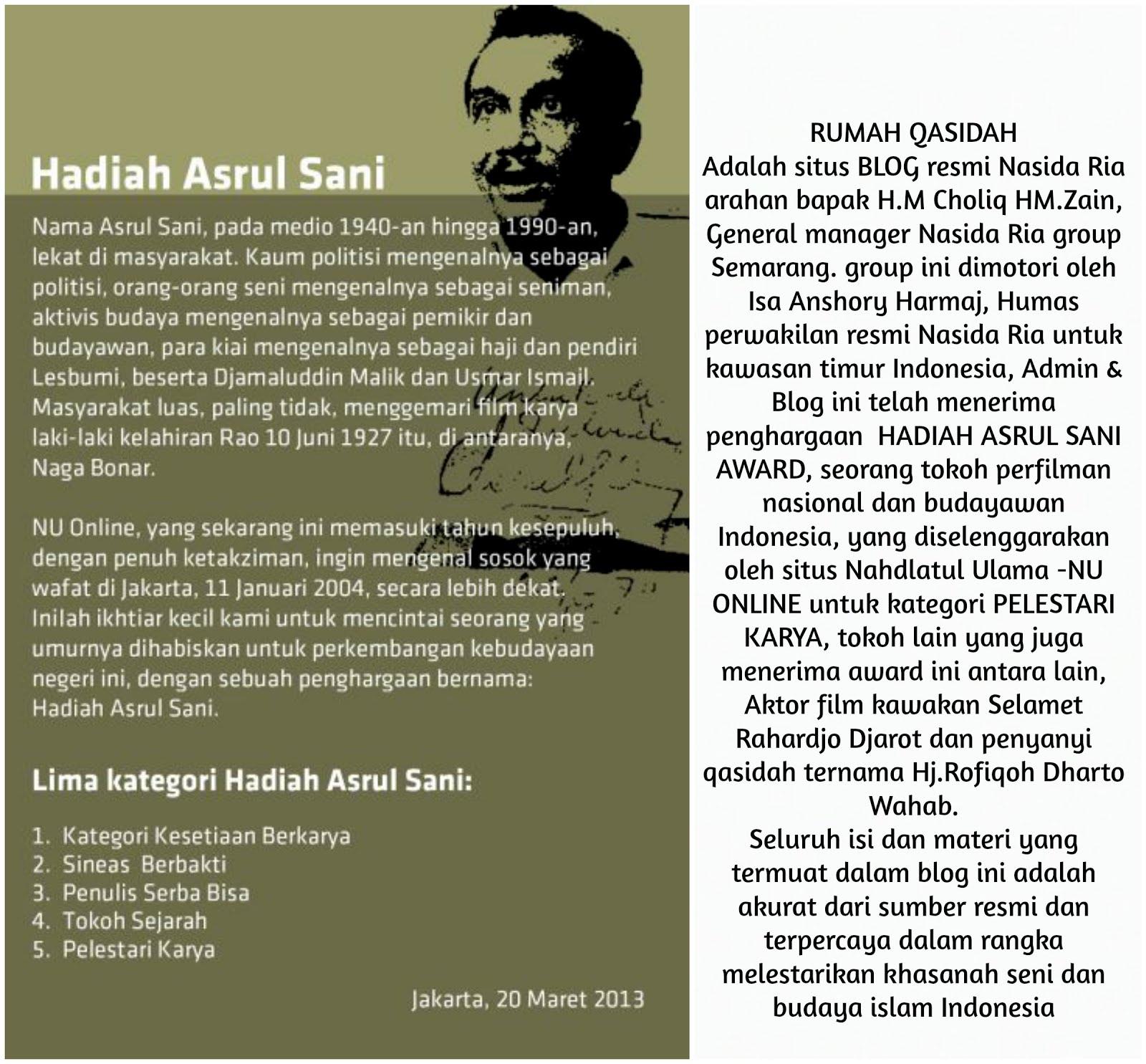PENGHARGAAN HADIAH ASRUL SANI