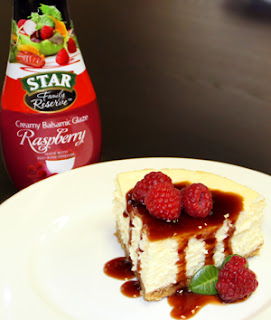 STAR Raspberry Glaze over cheescake