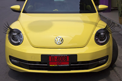 VW Beetle with Eyelashes