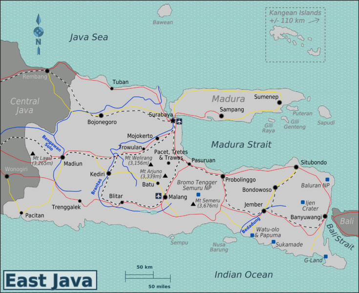 Mount bromo ijen crater east java volcano tour map here is the map for the 3 days 2 nights tour journey day 1 you will be arriving at the juanda international airport in surabaya to be received by an gumiabroncs