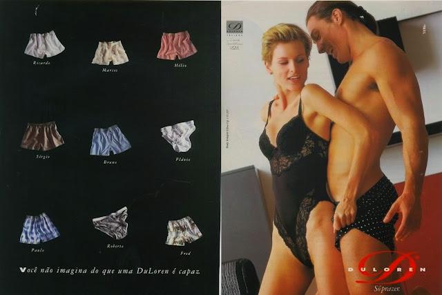 Propaganda da DuLoren em 1994 com uma mulher sendo provocada por um homem.