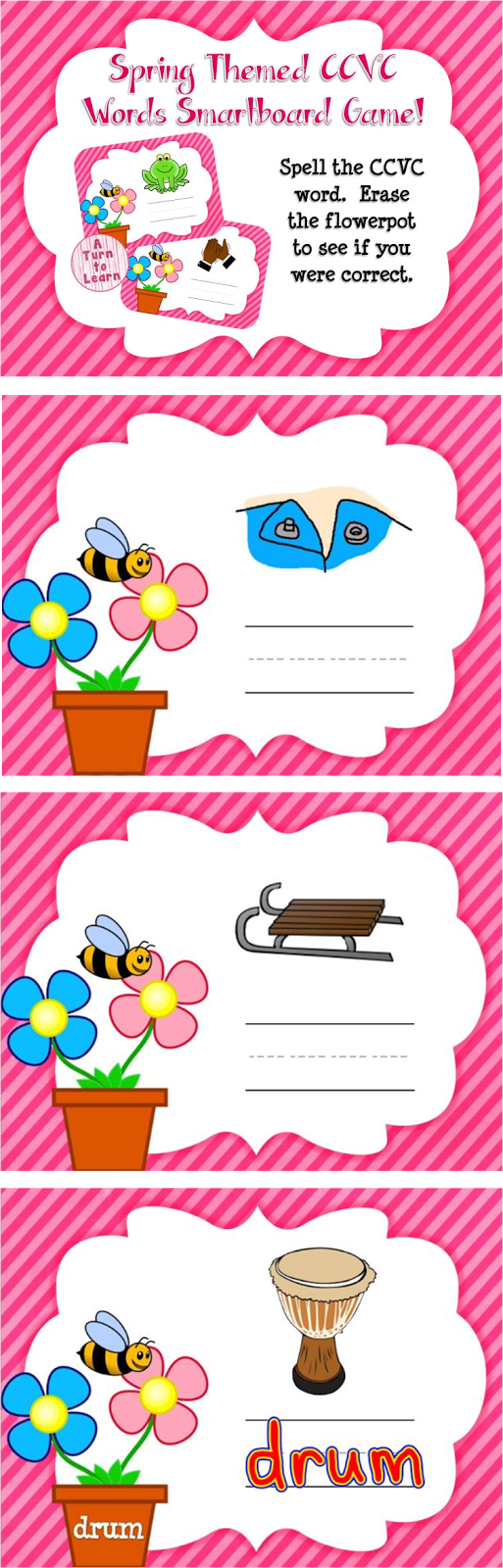 Spring Themed CCVC Words for Smartboard or Promethean Board!