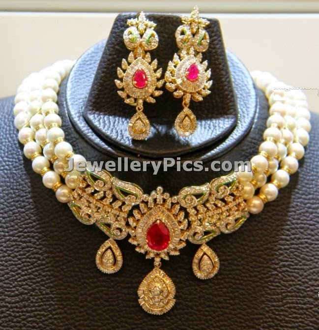 designer pearl & diamond necklace