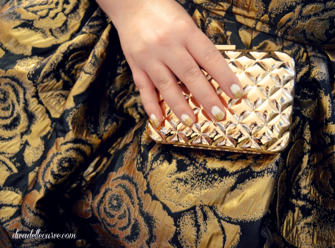 broccato oro e clutch oro H&M jibri