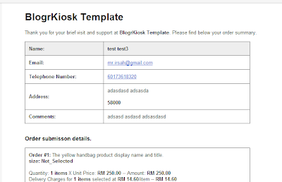 Blogger shopping cart auto email invoice new simple template