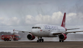 Virgin Atlantic's Airbus A320 in Edinburgh yesterday to promote Little Red