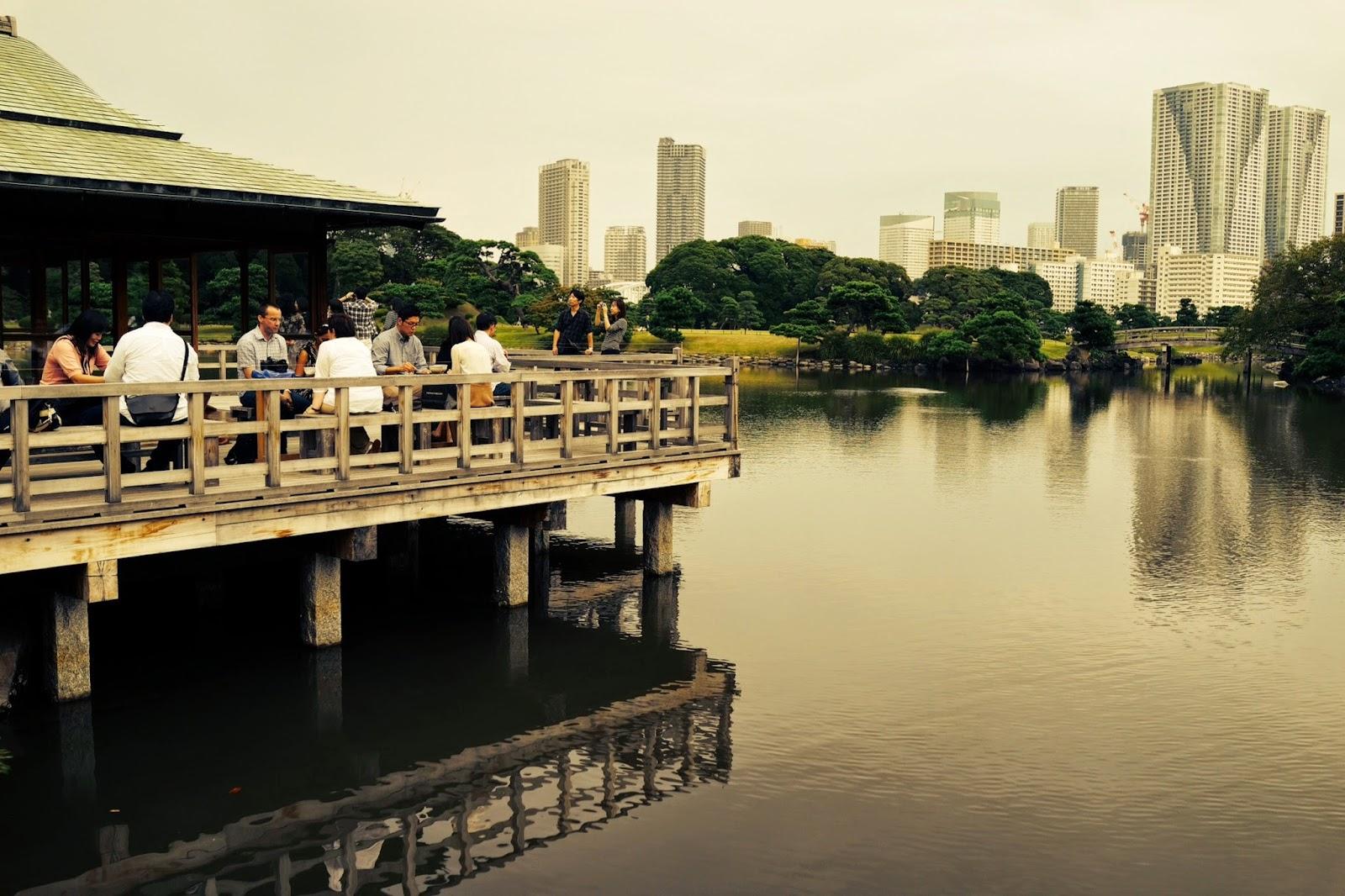 Hamarikyu Gardens near Tsukiji tea house overlooking lake japan tokyo