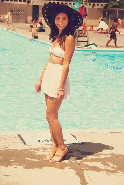 retro pool fashion sun hat girl white bandeau white shorts
