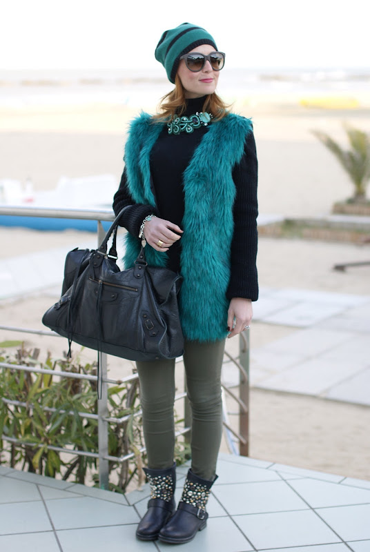 Balenciaga work bag, faux fur coat, Fashion and Cookies