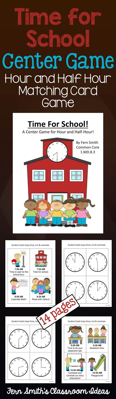 Fern Smith's Classroom Ideas Time for School Center Game at TeachersPayTeachers