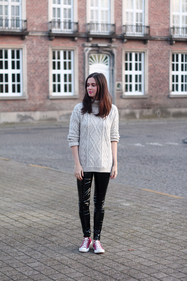 PVC Leggings, Converse and Roll Neck Knit