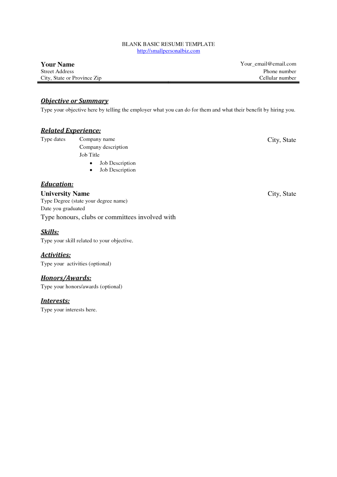 Printable resume outlines – Printable Resume Template