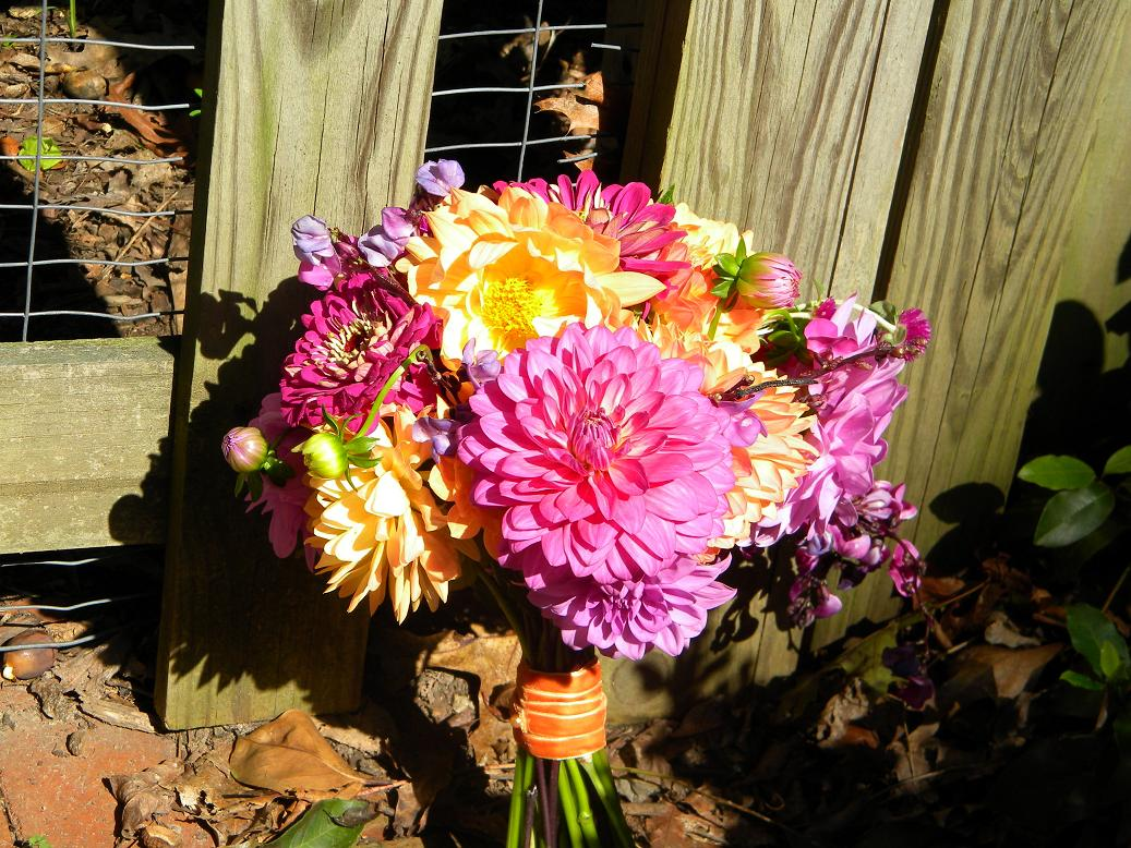 Wedding Flowers from Springwell: Fall Bouquets of Dahlias and Zinnias