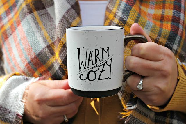 Target Threshold warm and cozy mug with fall plaid scarf - www.goldenboysandme.com