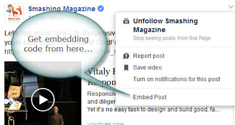 Facebook post embedding option