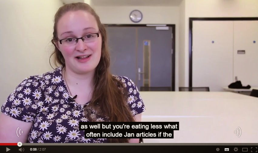 "Video with the caption ""as well but you're eating less what often include Jan articles if the"