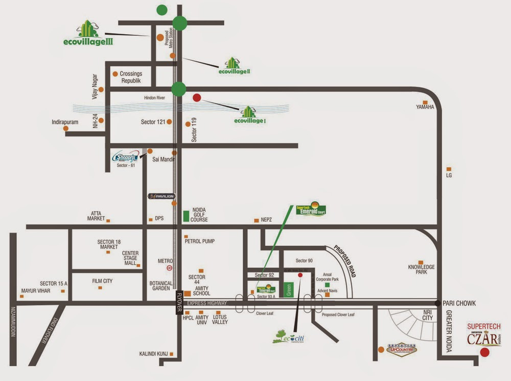 Supertech Ecovillage 3 Noida Extension :: Location Map