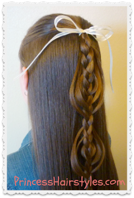 Half ponytail with cookie cutter braid