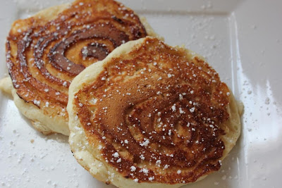 cinnamon swirl pancakes ready to eat