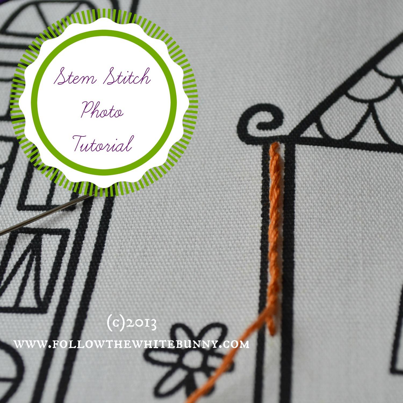 Follow The White Bunny Stem Stitch Tutorial