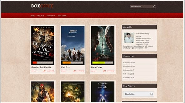 box office blogger template for gallery blog | Free Premium Blogger ...