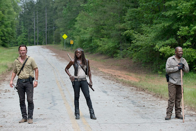 Andrew Lincoln como (Rick Grimes), Danai Gurira ( Michonne) y Lennie James  (Morgan)