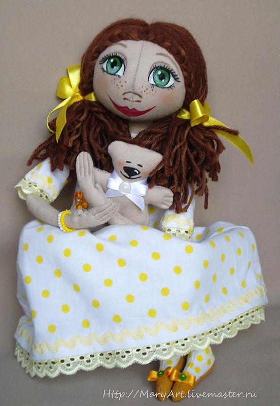Текстильная кукла Леночка, круглоголовка, интерьерная кукла, текстильная игрушка, девочка