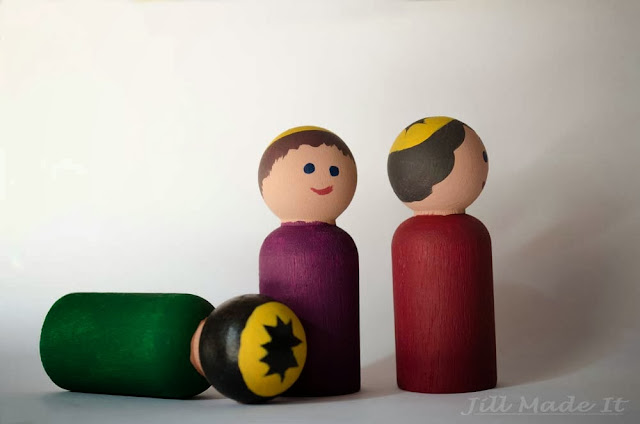 Wooden Peg People Nativity Set—Three Kings, Wise Men