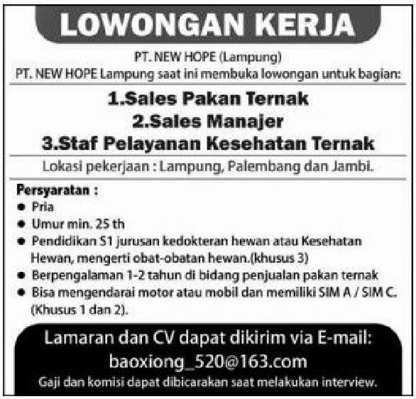 Loker PT. NEW HOPE Lampung (Palembang & Jambi)