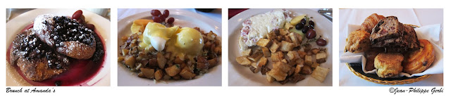 Image of Food at Amanda's in Hoboken, NJ - Croissant French toast, poached eggs with crab hash, honey smokes ham and swiss cheese omelett