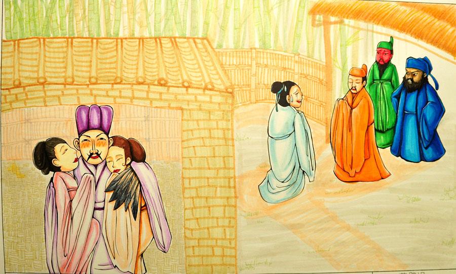 """หากเล่าเรื่องภาพนี้ด้วยภาษาจีน """"กวางตุ้ง"""" จะได้ว่า """"เหล่าปี๋ กวานยี่ จางฟุย มาหา หงเม่ง ไม่พบ, เด็กบอกหงเม่งไปพบอีหนู"""""""