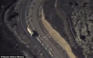 Satellite Images of oil containers crossing Syria-Turkey border