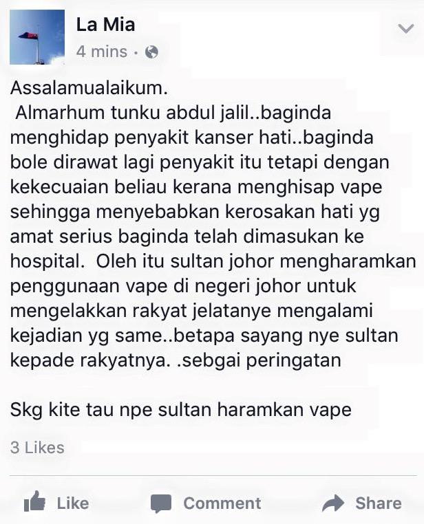 Punca Sebenar Johor Haramkan Vape Kerana Kecuaian Almarhum Tunku Abdul Jalil Hisap Vape?