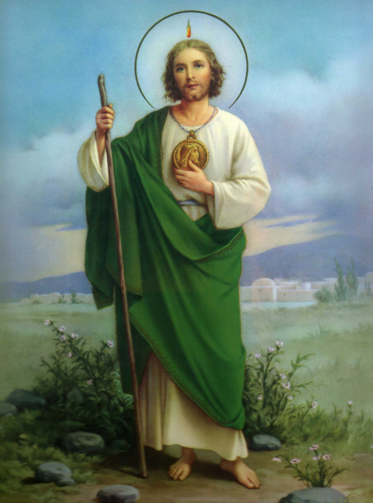 st judas Jude, also known as judas thaddaeus (greek: θαδδαῖος coptic: ⲑⲁⲇⲇⲉⲟⲥ),  was one of the  saint jude's attribute is a club he is also often shown in icons.