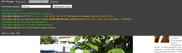 Панель плагина Seo Blogger
