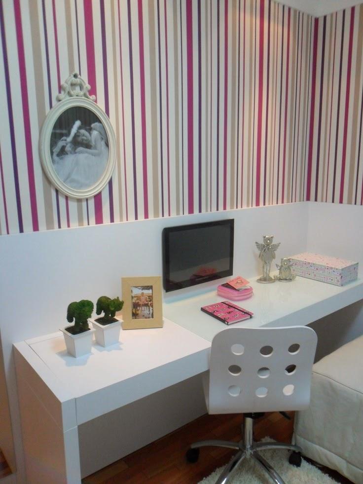 Decoração 10 quartos planejados para meninas, as  ~ Quarto Planejado Com Mesa De Estudo